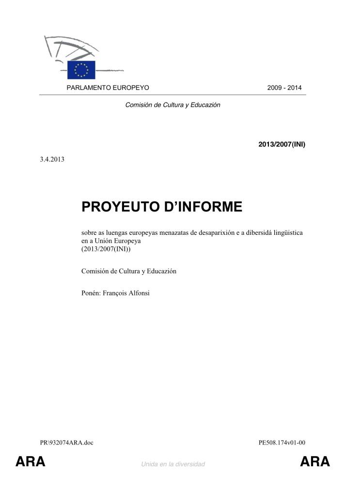 Informe Alfonsi en aragonés
