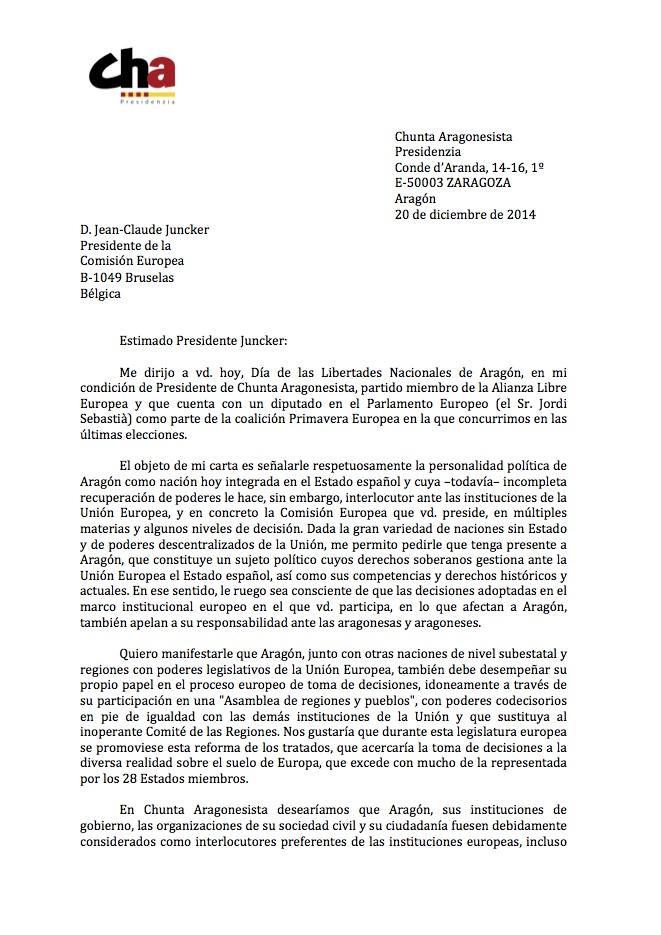 Carta de Soro á Juncker 1