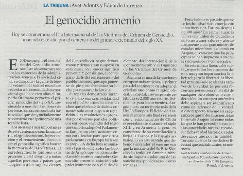 Publicado en Heraldo de Aragón el 9 de diciembre de 2015, Día de la Conmemoración y la Dignidad de la Víctimas del Crimen de Genocidio